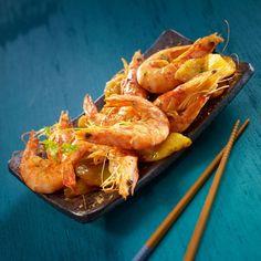 Recette Gambas sautées au gingembre et ananas caramélisé (facile) (adapter les cuissons pour le régime hypotoxique): Francine, recette de Gambas sautées au gingembre et ananas caramélisé pour 4
