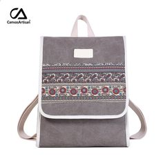 Canvasartisan New Women s Canvas Ryggsäck Retro Style Floral School Bookbag  Laptop Ryggsäckar Väskor Kvinna Casual College f21afe76b804d