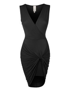 Womens Lightweight Side Draped Bodycon Dress with Stretch