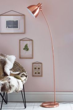 Home Decor Explosive Mix: copper floor lamps and pink details - see more at http://modernfloorlamps.net/home-decor-explosive-mix-copper-floor-lamps-pink-details/