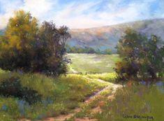 Long Road Home by LaVone Sterling Pastel ~ 12 x 16 Watercolor Landscape, Abstract Landscape, Watercolor Paintings, Painting Art, Oil Pastel Landscape, Summer Painting, Watercolor Artists, Painting Lessons, Abstract Oil