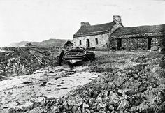 A crofter fisherman's cottage on the shores of Iona in the late 19th century.