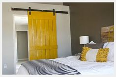 gray+and+yellow+bedroom+ideas | Yellow and Grey Bedroom- the door to separate the bathroom from the ...