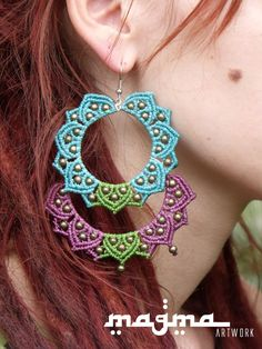 Sun Moon earrings macramé flower by MagmaArtwork on Etsy