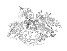 Girl and flowers Embroidery Transfers, Hand Embroidery Patterns, Applique Patterns, Vintage Embroidery, Embroidery Applique, Cross Stitch Embroidery, Cross Stitch Patterns, Vintage Patterns, Coloring Pages