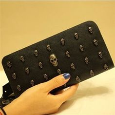 Cool Skull Pattern Vintage Women Clutch Bag Vintage Dark Handbags Men Punk Trend Unisex Long Purse Rivet