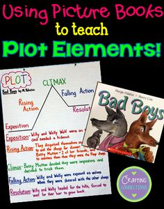 Plot with a Picture Book. with a freebie! Teaching plot with a picture book- with a FREE printable!Teaching plot with a picture book- with a FREE printable! Teaching Plot, Teaching Literature, Teaching Reading, Teaching Ideas, Learning, Anchor Charts, Plot Anchor Chart, Reading Lessons, Reading Resources