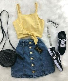 Clothes For Girls - red denim skirt - Fashion Ideas Girls Fashion Clothes, Teen Fashion Outfits, Trendy Clothes For Women, Girly Outfits, Mode Outfits, Outfits For Teens, Pretty Outfits, Fashion Ideas, Skirt Outfits