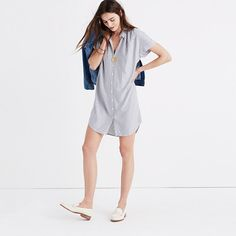 """Our best-selling shirt is reborn as an effortlessly cool dress. Drapey, soft and striped, this is one to wear with tights and boots now and sandals later (so versatile). <ul><li>Nonwaisted.</li><li>Falls 35 1/4"""" from highest point of bodice.</li><li>Rayon.</li><li>Hand wash.</li><li>Import.</li></ul>"""