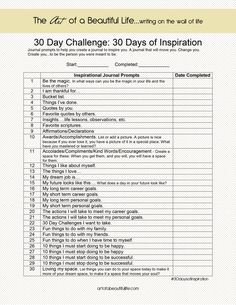 30 Day Challenge Inspirational Journal: 30 Days of Inspiration: Journal Prompts - New Year Goal Setting Journal Prompts, Writing Prompts, Writing Tips, Life Journal, Journals, Journal Art, Writing Strategies, Creative Journal, Writing Desk