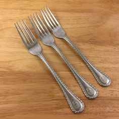 Wallace Stainless 18/10 Dinner Forks Basketweave Set of 3 Flatware Glossy  #Wallace