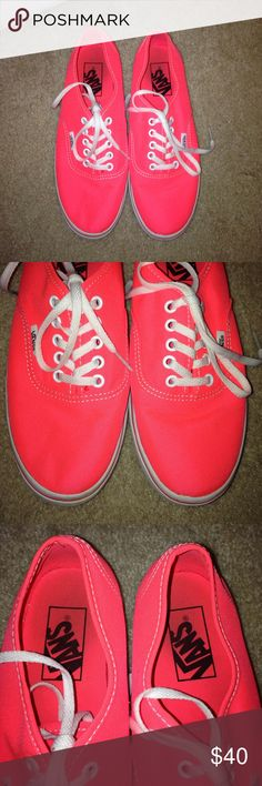 ❤️WORN ONCE NEON PINK VANS ❤️WORN ONCE NEON PINK VANS. Excellent condition. Worn once for a costume. Super cute and in perfect condition! White laces and size 6.5! Vans are so comfortable so these are a great deal! Vans Shoes Sneakers