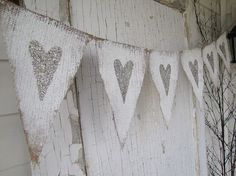Tarnished Silver Hearts Painted Burlap Banner by funkyshique, $32.00