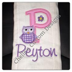 Owl burp cloth.