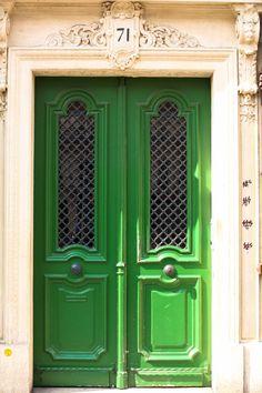 Emerald Green Door  Paris Photography  Paris by rebeccaplotnick, $30.00 Door Paint Colors, Front Door Colors, Cool Doors, Unique Doors, Portal, Townhouse Garden, When One Door Closes, French Home Decor, Painted Doors