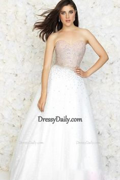 2015 New A-Line Sweetheart Floor-Length Tulle Color White Prom Dresses - PROM