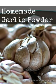 This homemade garlic powder contains nothing but 100% home-dried garlic. The same method can be used to make homemade onion powder.