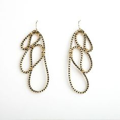 Kate Cusack, Leaf Zipper Earrings Gold and black zipper, gold-plated earwire Each earring, 3 x 1 inch