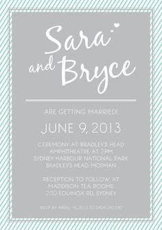 "Teal & Grey Striped Wedding ""Print yourself"" invitation $45"