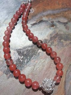 Natural Cherry Quartz Summer Necklace with by trendytrinketsbymely, $55.00