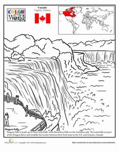 Take a trip to the Canada-U.S. border with an inspiring coloring page of Niagara Falls that has fun facts of the world around him!