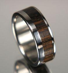 African Blackwood Wide Offset Inlay Titanium Wood Wedding Band