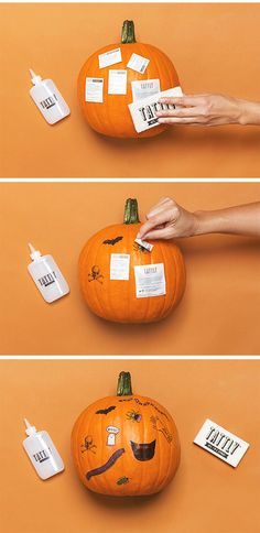 Tattly tattooed Halloween pumpkin how-to: Easy way to decorate a no-carve pumpkin