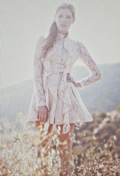 Women's Shabby Chic Lace Button Front Coat - For our family photos in November!