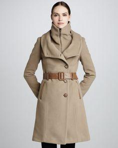 Marina Belted-Wool Coat - Neiman Marcus