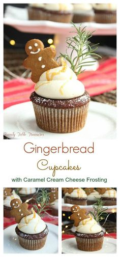 Gingerbread Cupcakes with Caramel Cream Cheese Frosting - Family Table Treasures What better way to welcome the Christmas season than with a batch of these festive Gingerbread Cupcakes. Christmas Cupcake Flavors, Holiday Cupcakes, Christmas Desserts, Winter Cupcakes, Christmas Treats, Christmas Fun, Lebkuchen Cupcakes, Galletas Cookies, New Year's Cupcakes