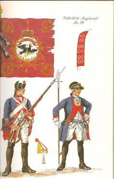 Prussia; Infantry Regiment Nr.14, c.1750 by G.Donn