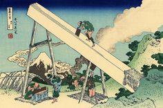 36 Views Or Mount Fuji - Katsushika Hokusai c. 1760 - 1849. This print is #34 being an ink print made from woodblock. Title - Mount Fuji from the mountains of Tōtōmi. Tōtōmi sanchū. 遠江山中.