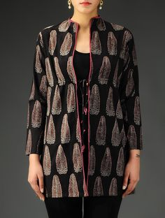 Buy Black Brown Maroon Ajrakh Cotton Jacket Apparel Jackets Modern Muse Colorful… Short Kurti Designs, Printed Kurti Designs, Churidar Designs, Blouse Designs, Kurti With Jacket, Kurti Styles, Coats For Women, Clothes For Women, Shrug For Dresses
