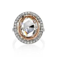 4.57 Carat Rose Cut Diamond Engagement Ring