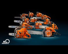 Family Shot of Husqvarna chainsaws - for 50th Anniversary ad