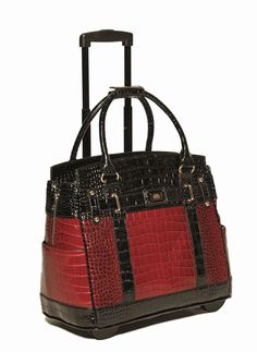 Arrive in style with this elegant faux alligator rolling tote carryall bag.  Perfect for the office, school, travel or just...