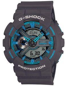 Casio G-Shock Matte Gray & Blue Analog Digital Anti-Magnetic - 200m - WorldTime