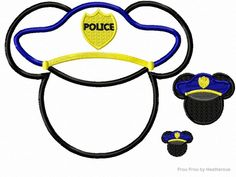 Police Officer Policeman Mister Mouse Head Machine Applique Embroidery Designs, multiple sizes including 1, 2, 3, 4, 5, and 6 inch