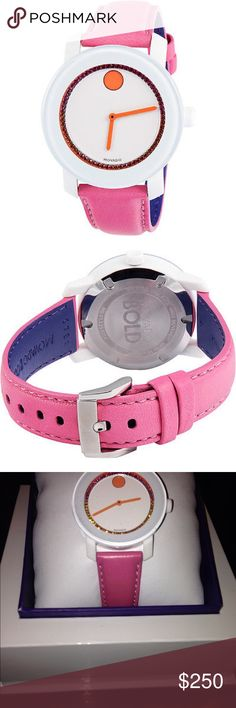 Georgeous Pink and White Movado Watch Authentic Movado bold white dial pink leather ladies watch.Never worn.Still in Box Movado Jewelry