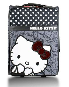 Hello Kitty Black and White Polka Dot Rolling Carry On Luggage  #Baghauspinterest