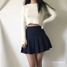 Pin by Andrea Rosales on fashion in 2019 Teen Fashion Outfits, Edgy Outfits, Korean Outfits, Kawaii Fashion, Cute Fashion, Girl Fashion, Crop Top Outfits, Skirt Outfits, Cute Comfy Outfits