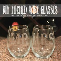 How to Make Etched Wine Glasses- Silhouette Cameo craft.  These would make a great wedding gift!
