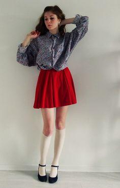 Vintage Paradise Bordeaux Vintage Floral Shirt, Zara Red Skirt