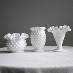 Three Fenton Milk Glass Mini Vases  Instant by BarkingSandsVintage