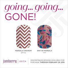 Marsala Chevron Glossy, Hint Of Marsala Tint, are retiring on February 29th at 11:59pm MT Jamminmartha.jamberry.com