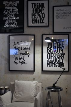 wall of black and white quotes