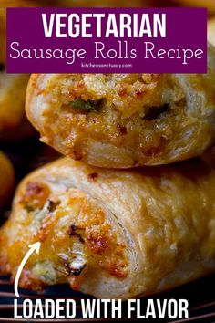 Vegetarian Sausage Rolls are great for the vegetarian and meat loves. A puff pasty loaded with filling that is savory and melts in your mouth. A bite-size appetizer or weeknight dinner idea to serve up your family. Bite Size Appetizers, Meat Appetizers, Appetizer Recipes, Vegetarian Pasties, Vegetarian Meals For Kids, Vegetarian Food, Vegetarian Sandwiches, Going Vegetarian, Vegetarian Breakfast