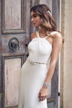 Rebekah by Anna Campbell Bridal. Fit to flare, crepe wedding dress. Sample wedding gown for sale in Vancouver, BC & across Canada. Anna Campbell Bridal, Wedding Dress Styles, Bridal Dresses, Wedding Gowns, Wedding Shoes, Bridal Collection, Dress Collection, Bohemian Bride, Modern Bohemian
