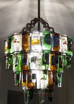 Beer Chandelier... kind of WT but kind of totally amazing at the same time.
