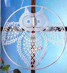 "filet crochet owl and other patterns. ""Solo esquemas y diseños de crochet: animales II (Includes chart of the Owl)"", "" I think I'll make this for Faith, Filet Crochet, Mandala Au Crochet, Chat Crochet, Thread Crochet, Crochet Motif, Crochet Doilies, Crochet Stitches, Dream Catcher Crochet Pattern, Crochet Coaster"